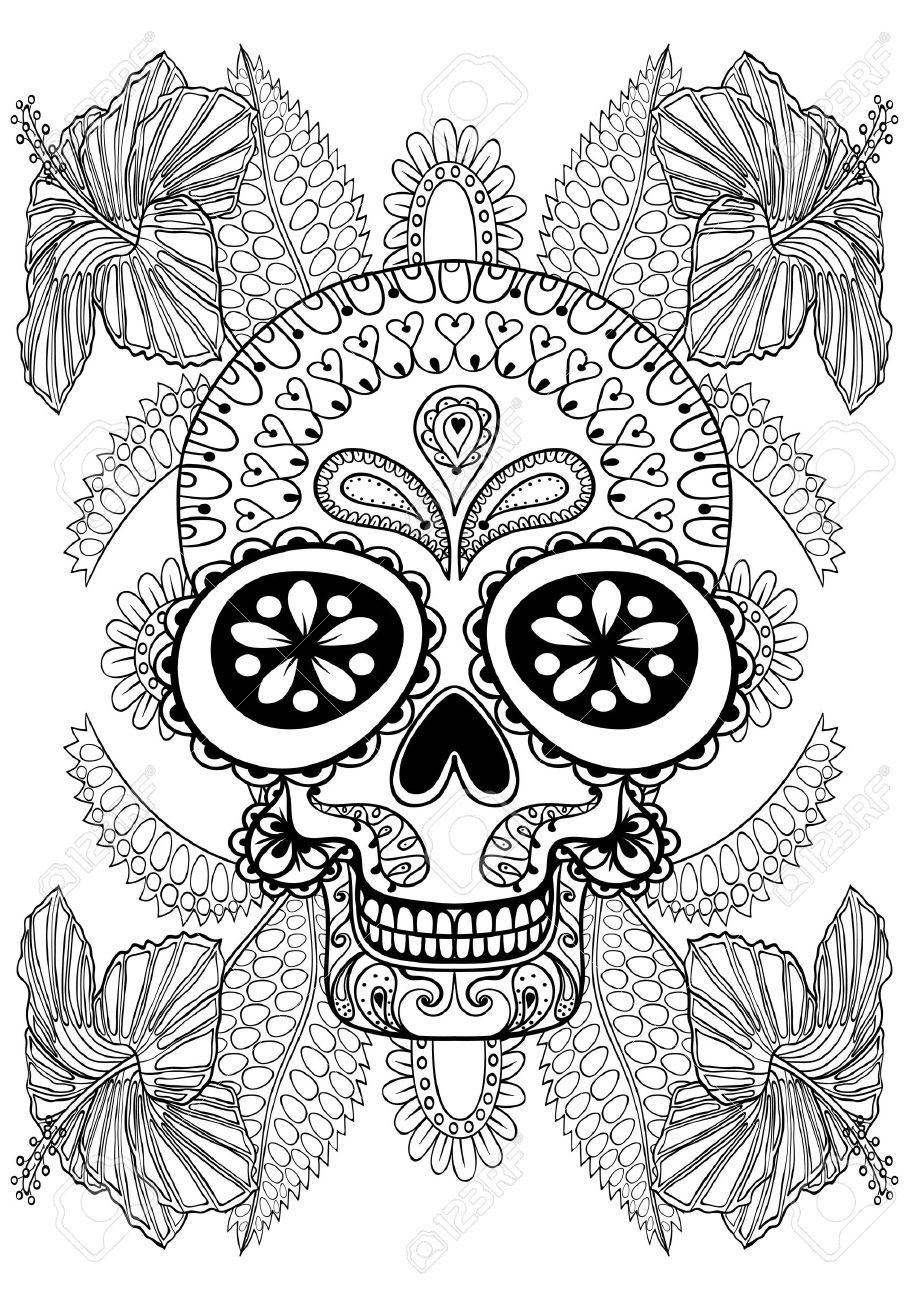 Hand drawn Cr¢ne artistique en fleurs pour coloriage adulte taille A4 en doodle style zentangle