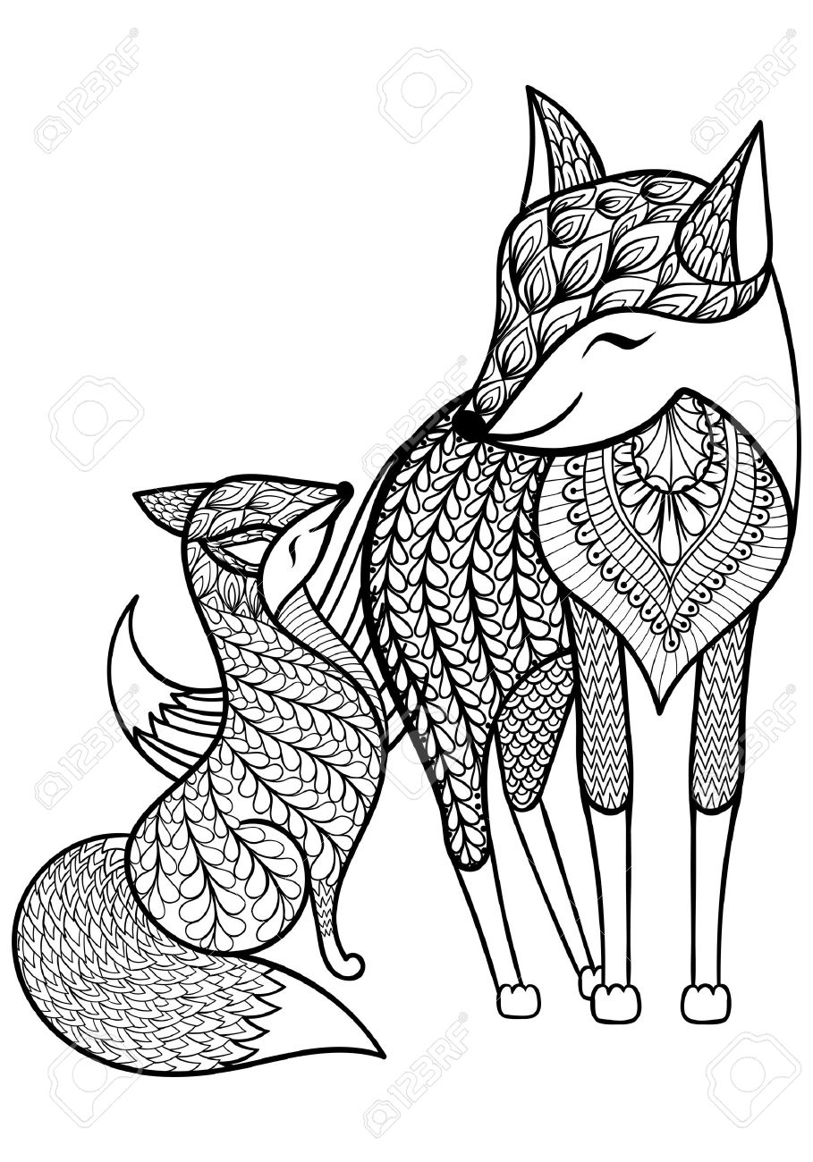 - Hand Drawn Fox With Young Child Pattern For Adult Coloring Page
