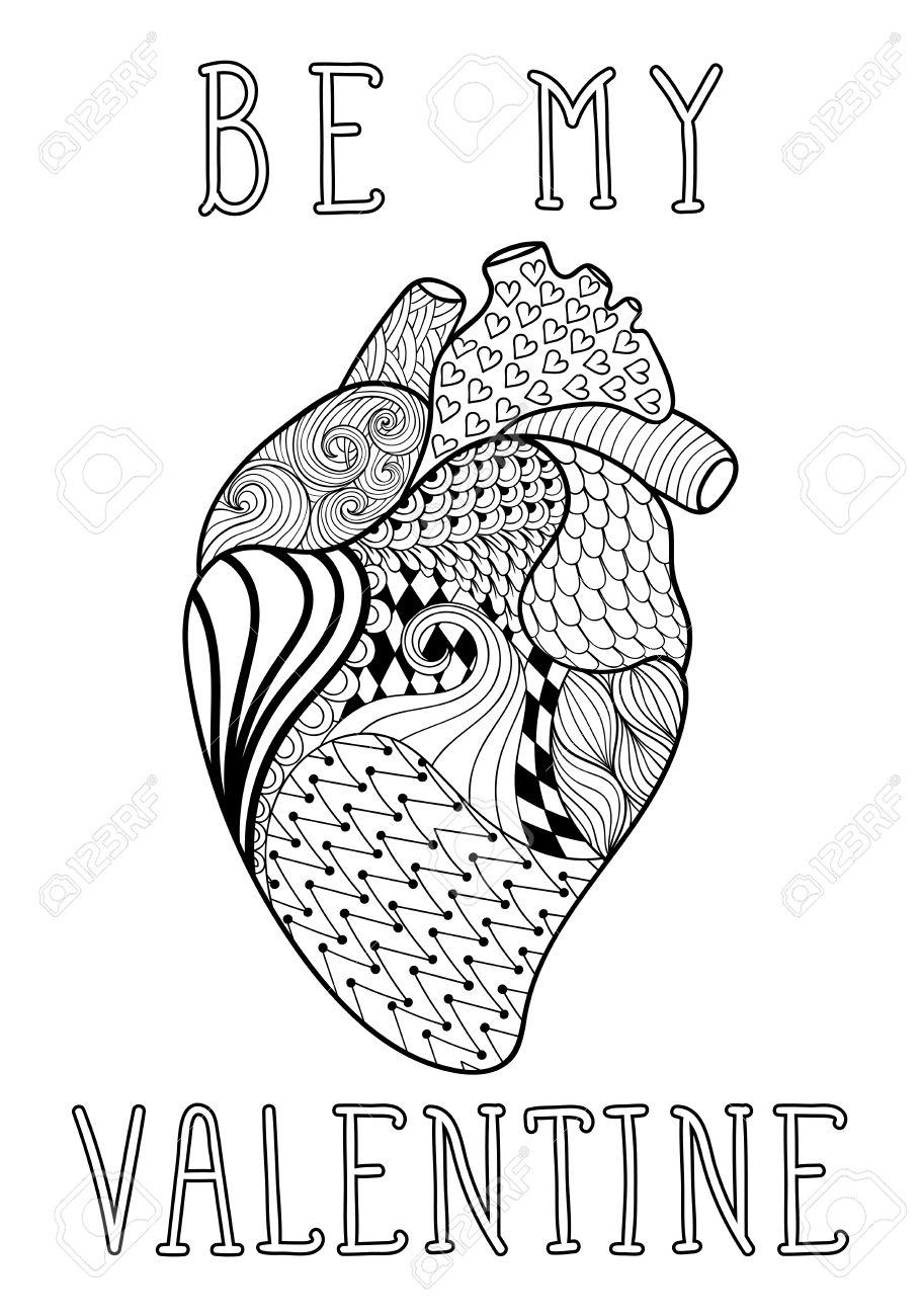 Dibujado A Mano Del Corazón Humano Modelado Para Colorear Página