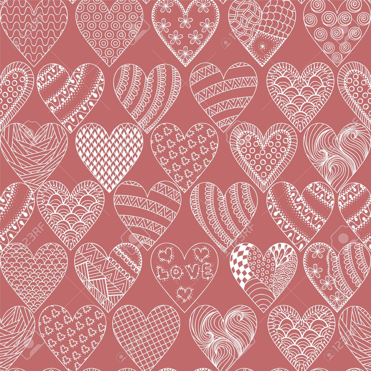 Hand Drawn Ethnic Ornamental Hearts Symbol St Valentines Day In Doodle Zentangle Style