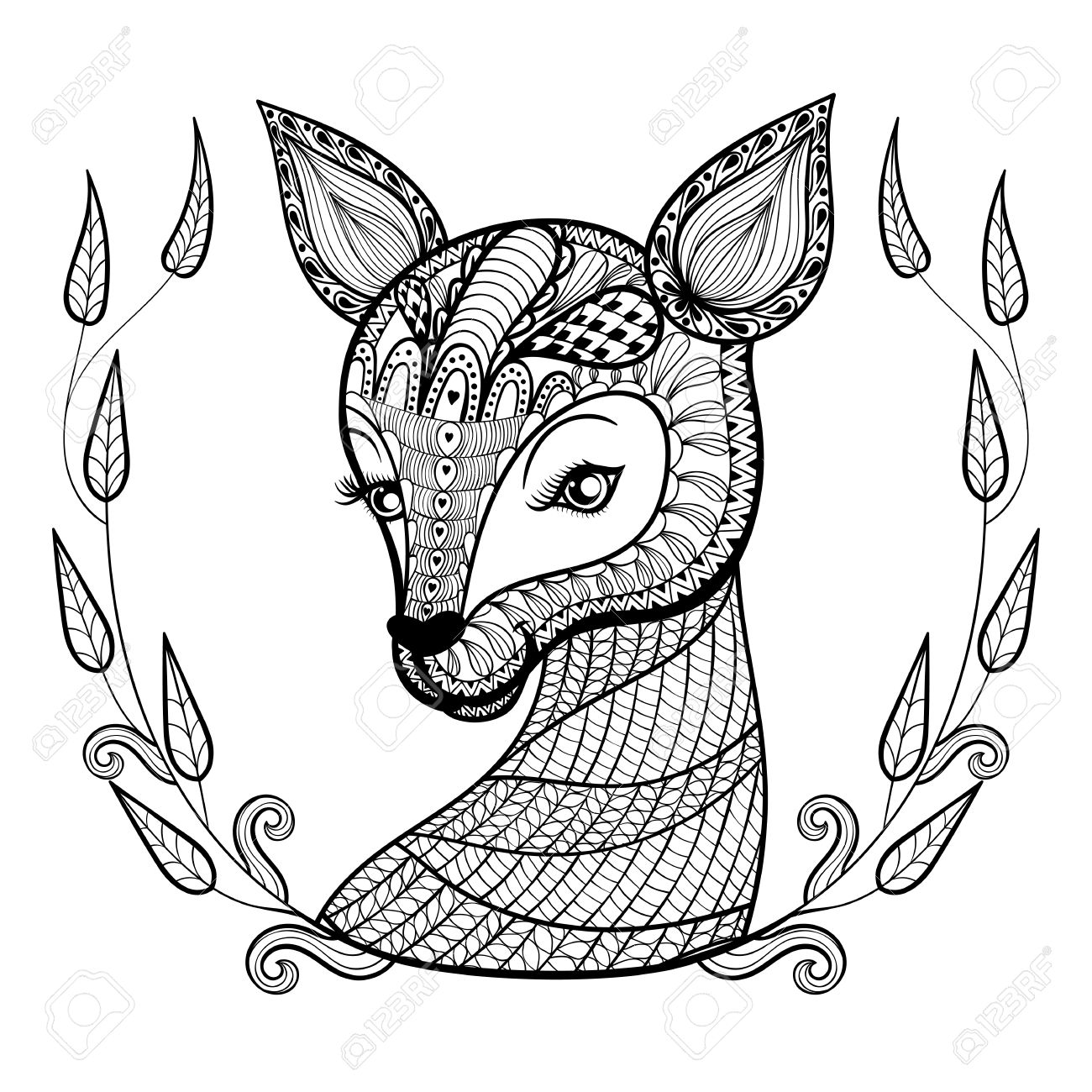 Deer Face Coloring Pages. Hand drawn ethnic ornamental patterned cute deer s face in floral retro  frame doodle zentangle Drawn Ethnic Ornamental Patterned Cute Deer Face In Floral