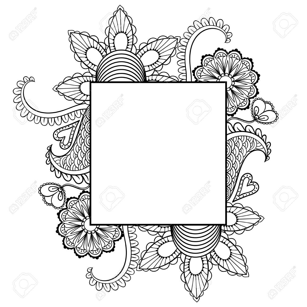 Hand Drawn Artistically Ethnic Ornamental Patterned Floral Frame For St Valentines Day In Doodle