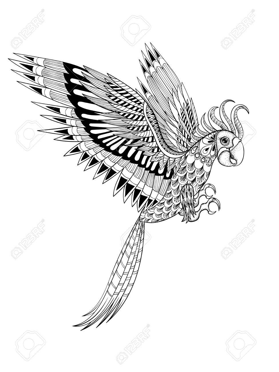 Hand drawn artistically ornamental tribal Parrot, bird totem for adult anti stress Coloring Page in zentangle style , illustration with high details isolated on white background. Vector sketch A4 size. - 51455585