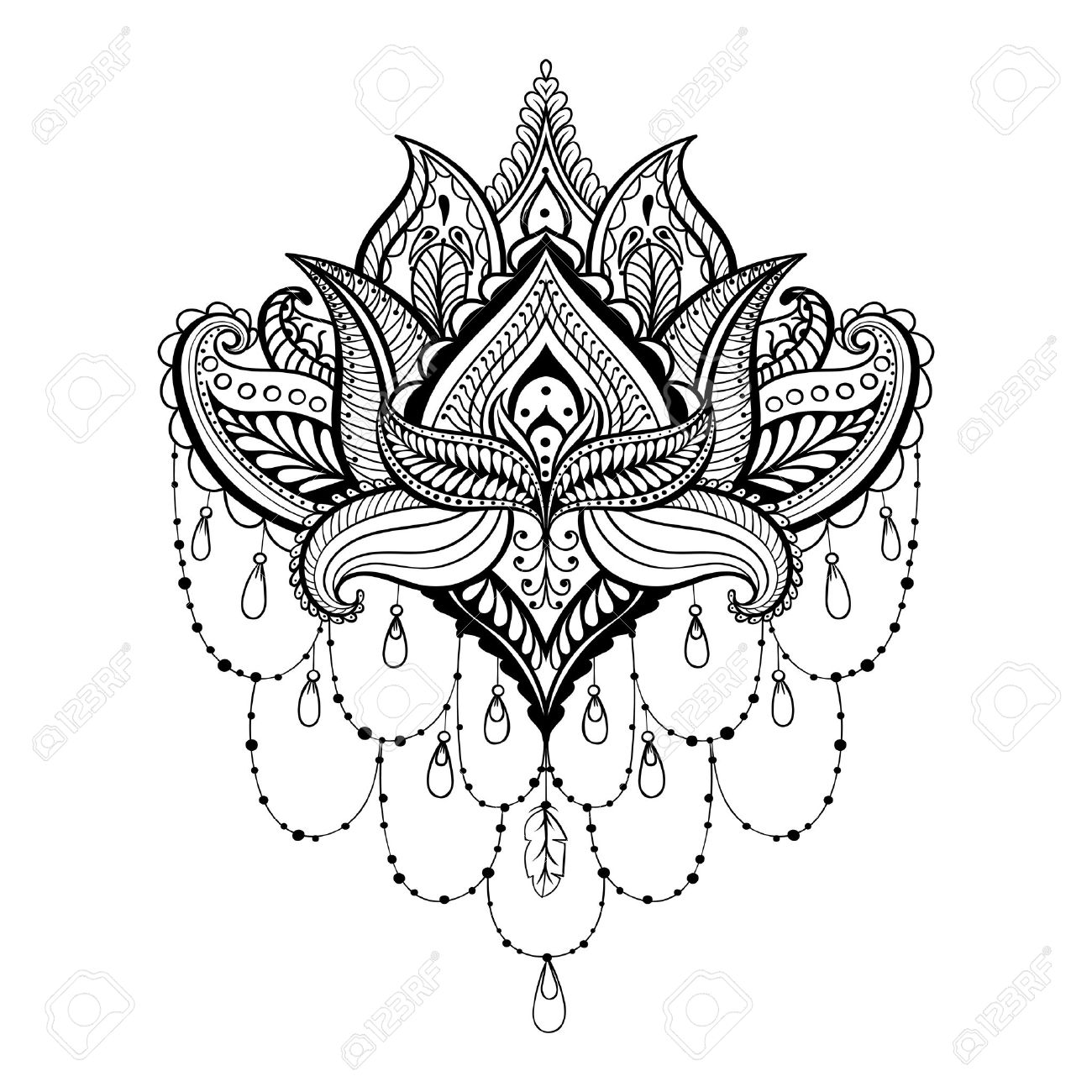 Coloring pages henna - Vector Vector Ornamental Lotus Ethnic Zentangled Henna Tattoo Patterned Indian Paisley For Adult Anti Stress Coloring Pages Hand Drawn Illustration In
