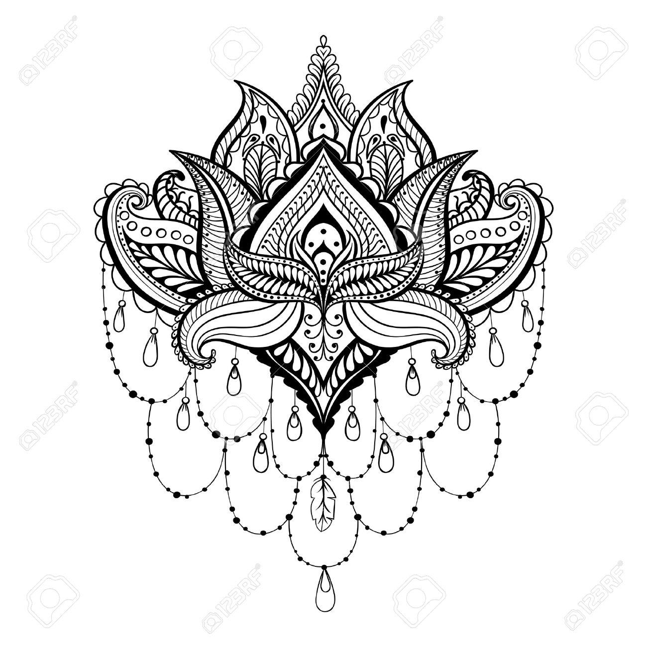 Coloriage Anti Stress Indien.Vector Ornement Lotus Ethnique Zentangled Tatouage Au Henne Paisley Indienne Motifs Pour Anti Stress Coloriage Adultes Illustration Main Dessine