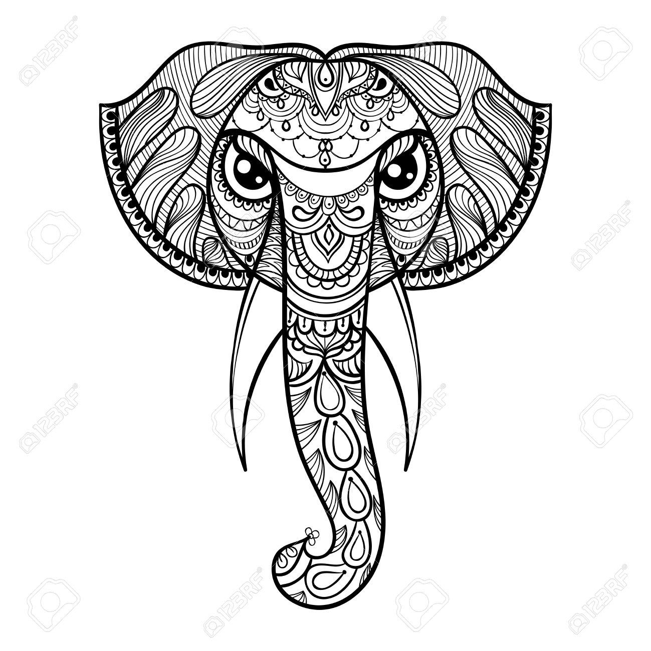 ベクトル象、民族 zentangled マスコット、魔除け、ヘナタトゥーの観賞