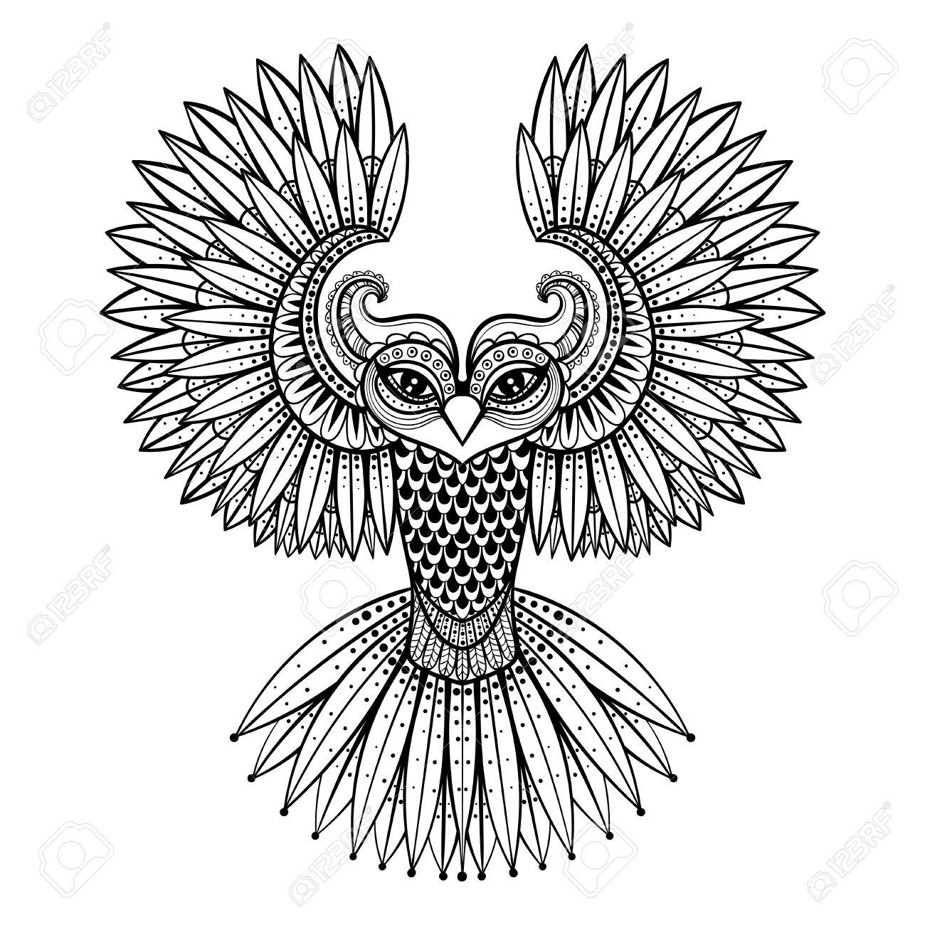 Vector Búho Ornamental, La Mascota Zentangled étnica, Amuleto ...