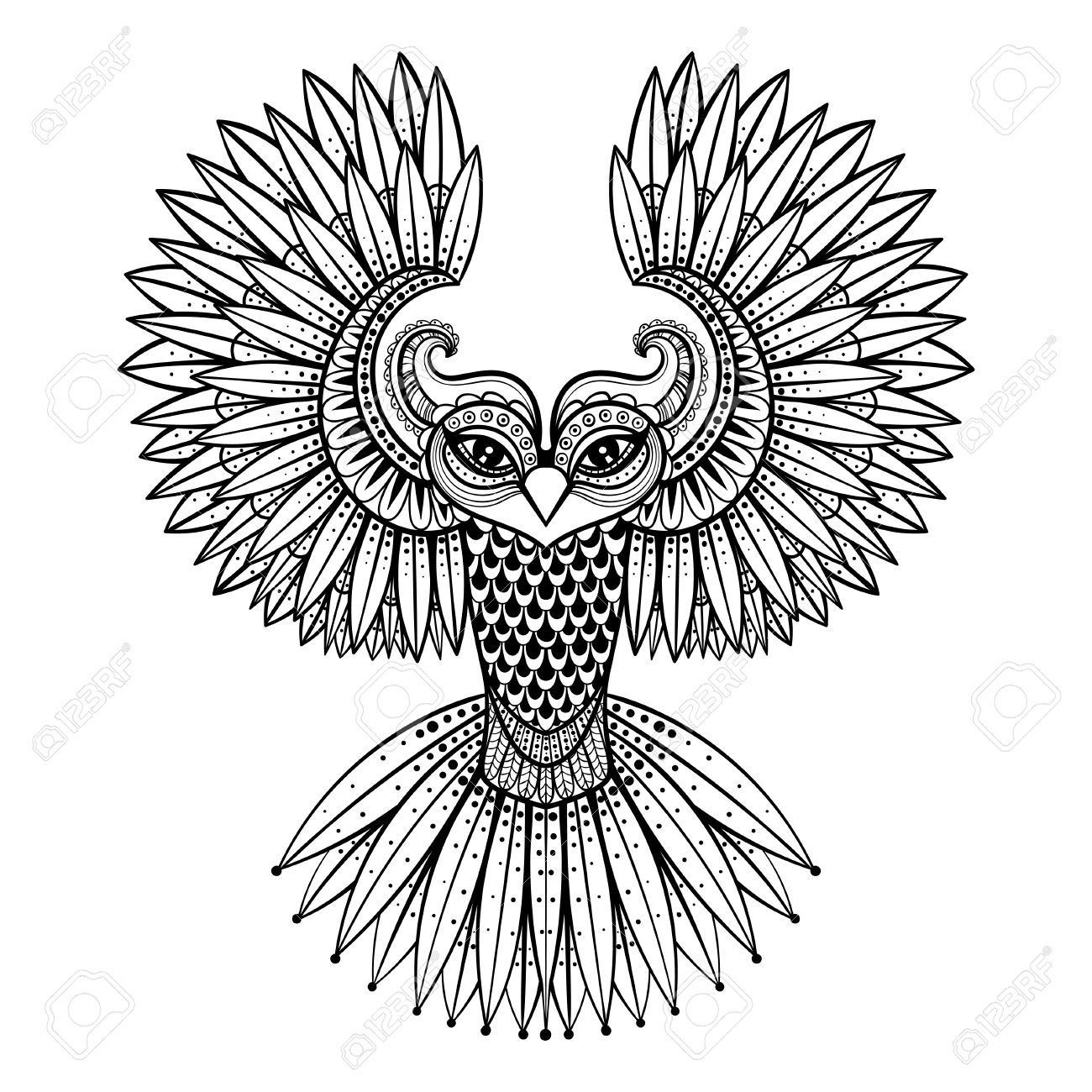 Vector ornamental Owl, ethnic zentangled mascot, amulet, mask of bird, patterned animal for adult anti stress coloring pages. Hand drawn totem illustration isolated on background. - 51456691