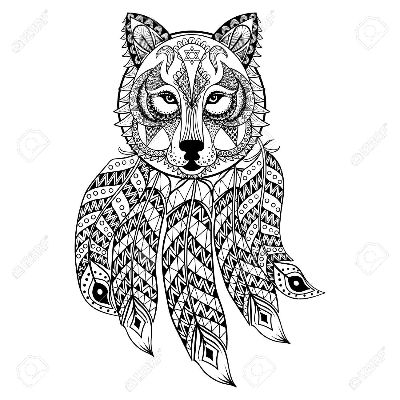 Vector Ornamental De Lobo Con Atrapasueños La Mascota Zentangled étnica Amuleto Máscara De Hombre Lobo Animal Con Dibujos De Las Páginas Para