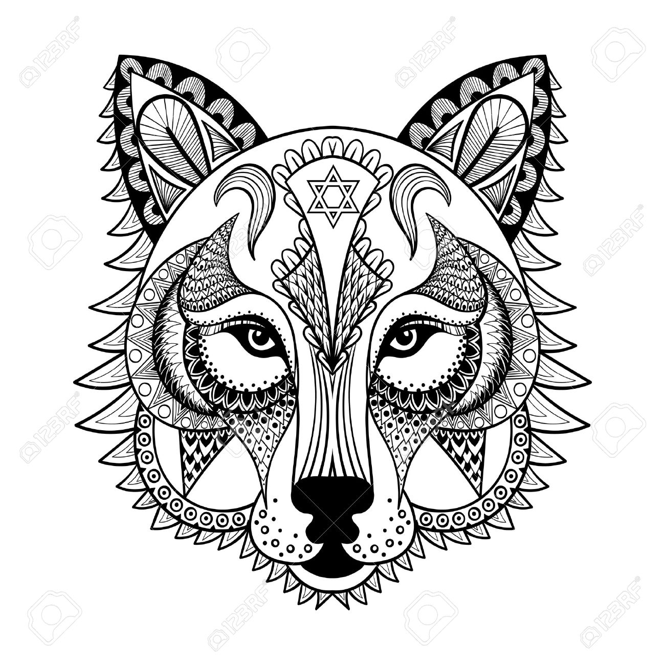 Coloring pages for down syndrome adults - Adult Vector Ornamental Wolf Ethnic Zentangled Mascot Amulet Mask Of A Werewolf