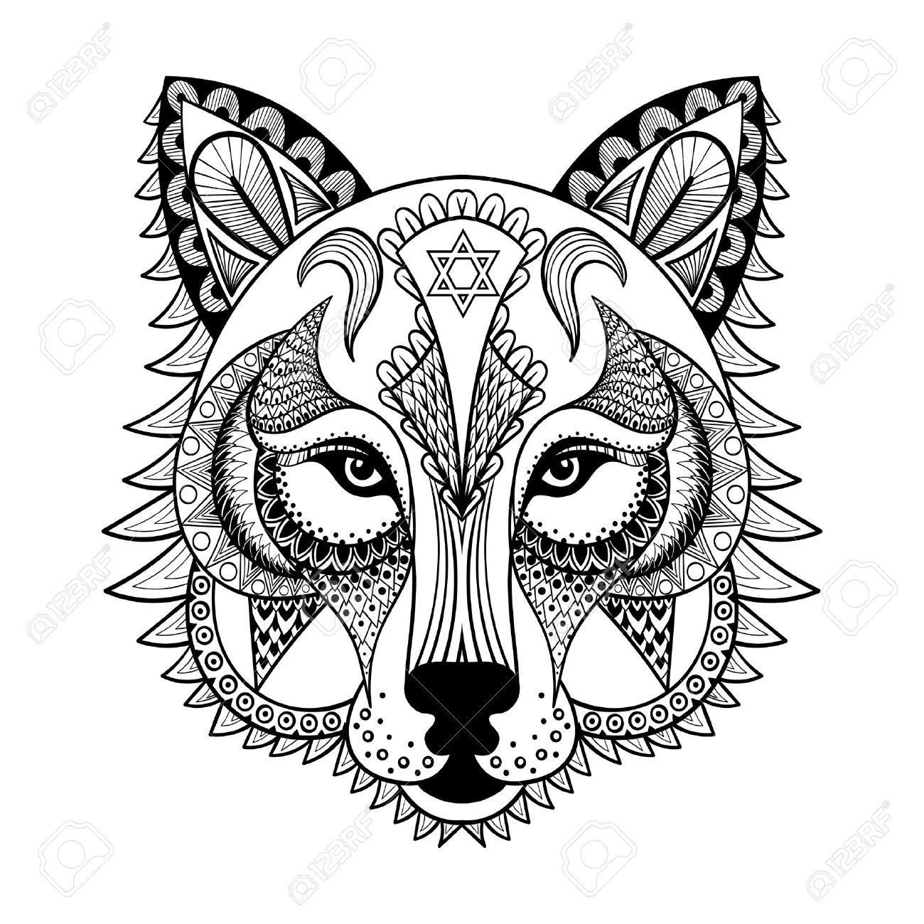 Vector Ornamental Del Lobo La Mascota étnica Zentangled Amuleto La Máscara De Un Hombre Lobo Animal Con Dibujos Para Colorear Páginas Para