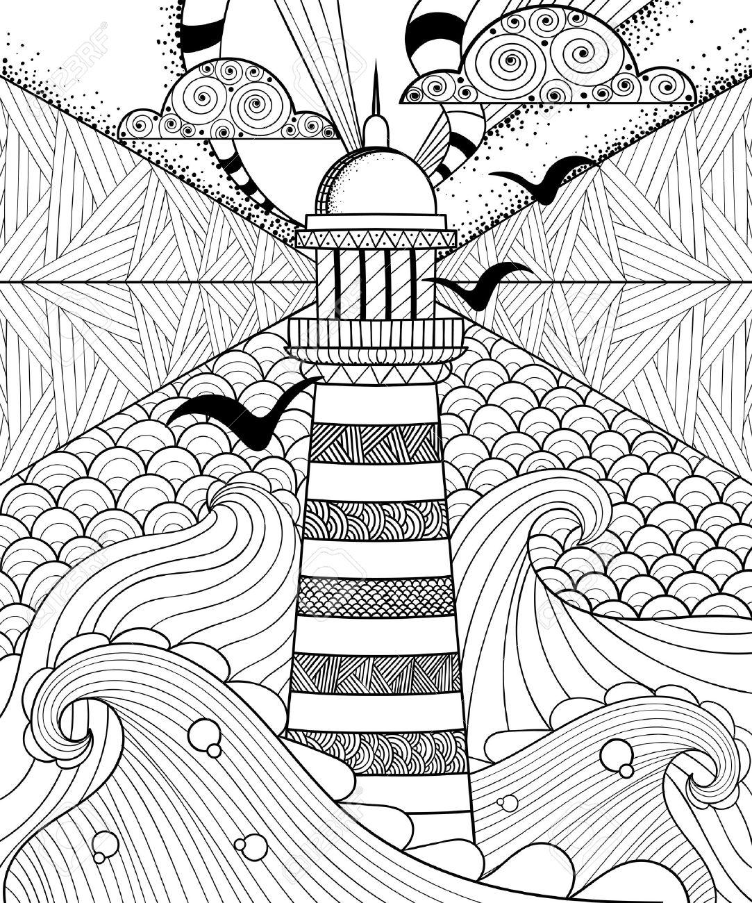 Dibujado A Mano Artísticamente Ornamentales étnica Modelado Faro Con ...