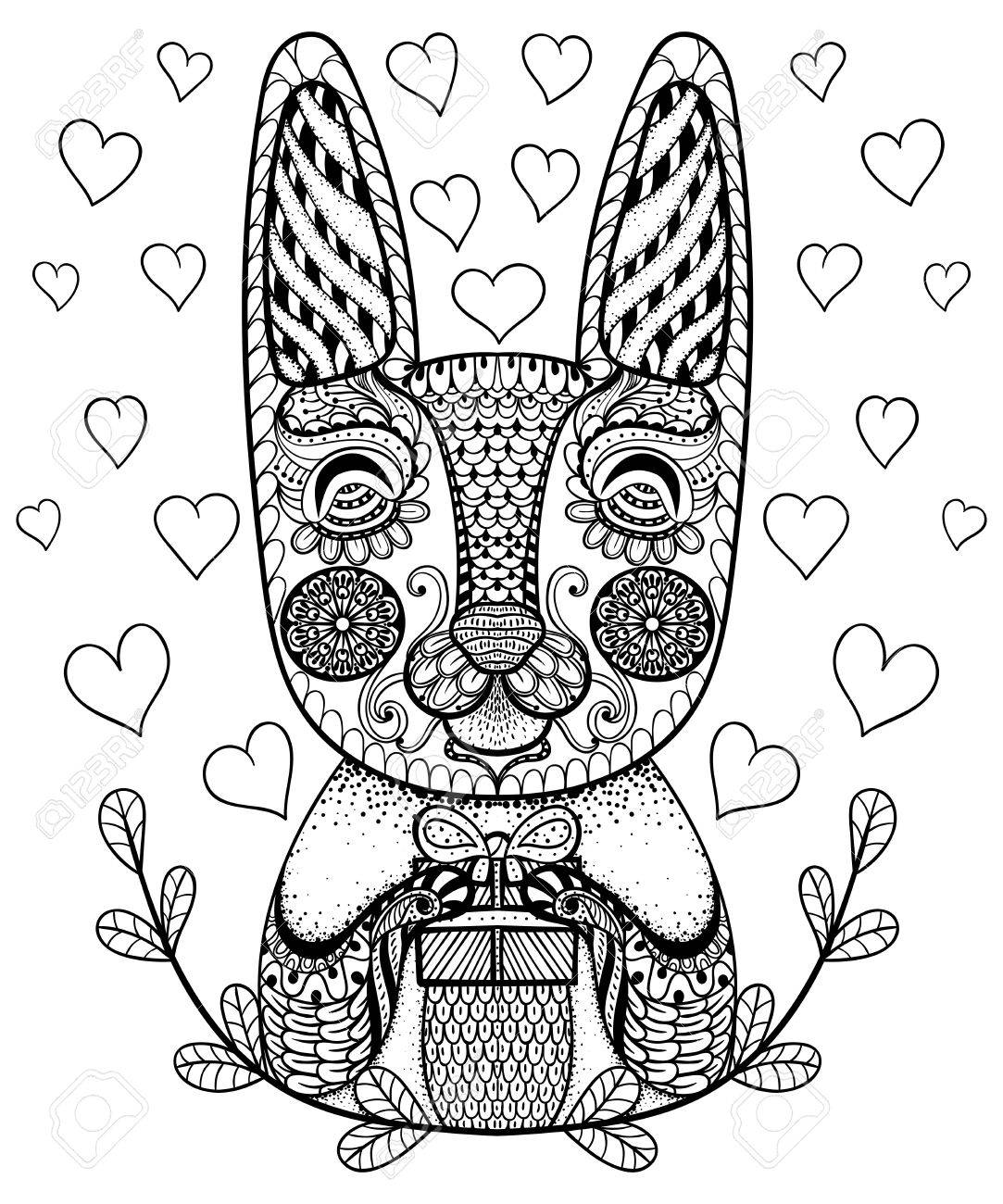 Hand drawn easter rabbit with gift and hearts in doodle patterned hand drawn easter rabbit with gift and hearts in doodle patterned bunny in zentangle tribal negle Image collections