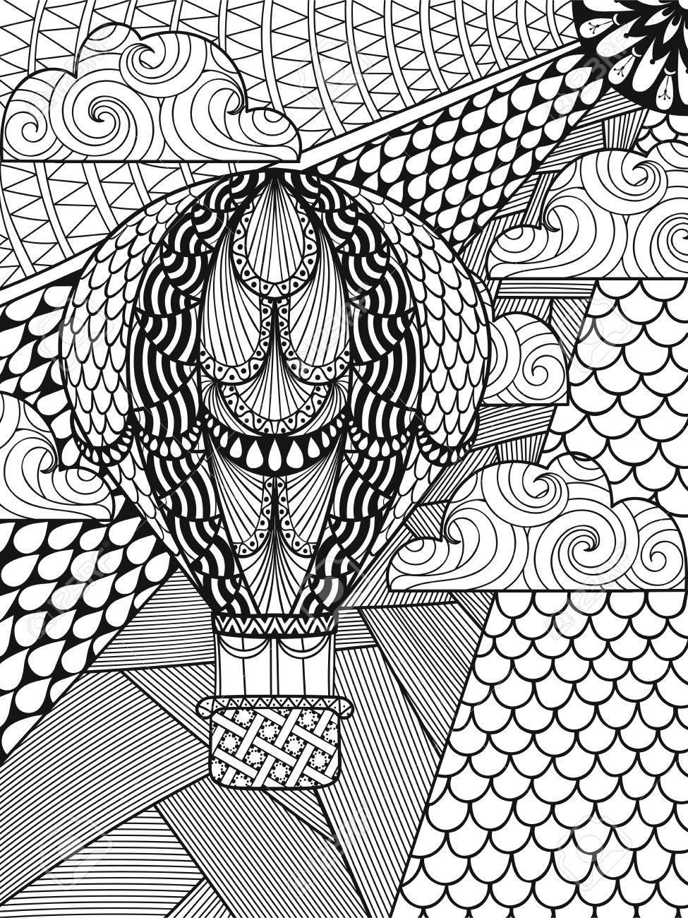 Dibujado A Mano Globo De Aire Con Dibujos Ornamentales ...