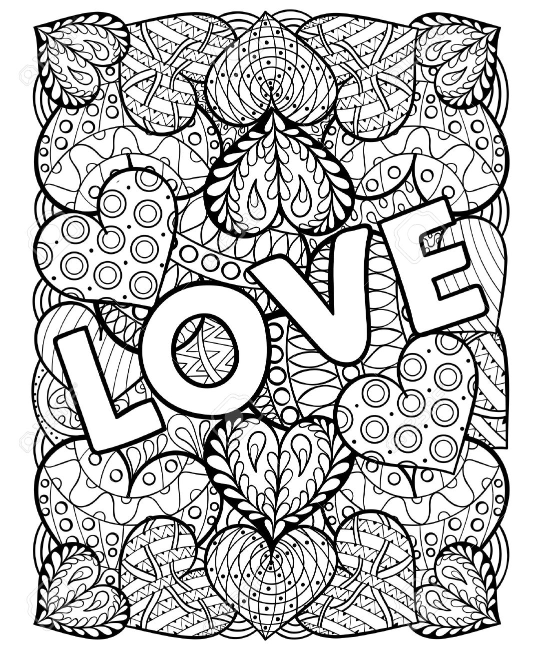 Hand drawn St. Valentine's day artistically ornamental patterned hearts with love in doodle, zentangle tribal style for adult coloring pages, tattoo, t-shirt or prints. Vector illustration A4 size. - 51456685
