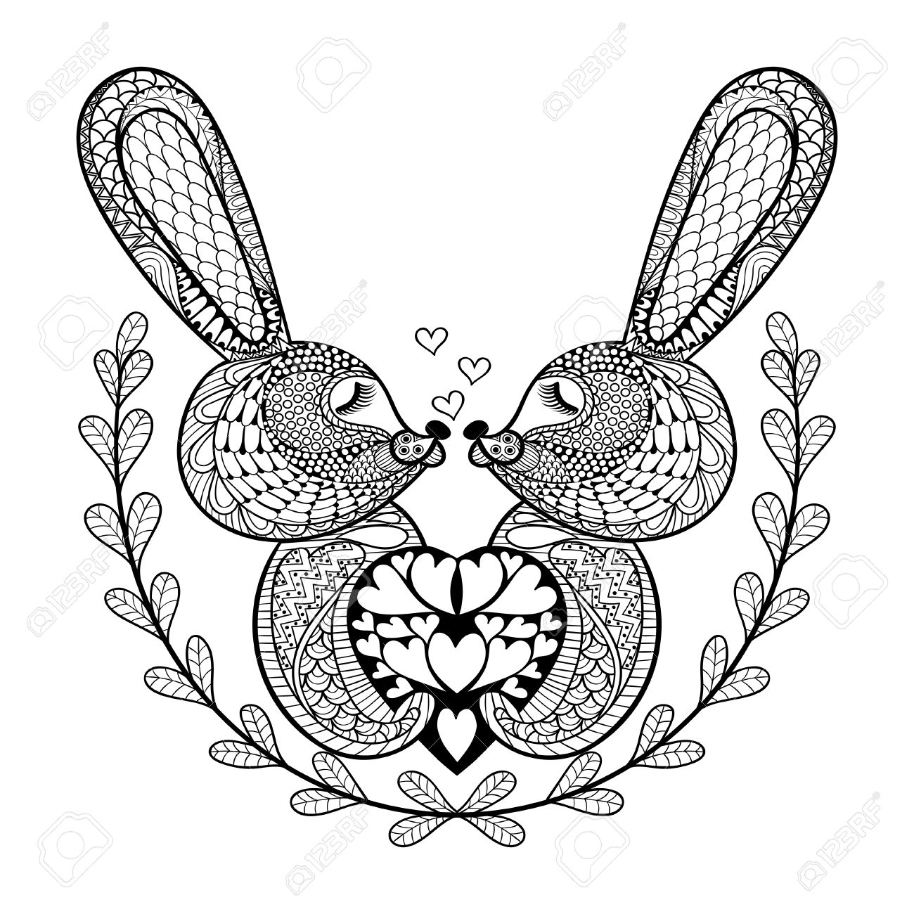 Hand Drawn Lovely Rabbit For St Valentines Day In Doodle Zentangle Style Adult