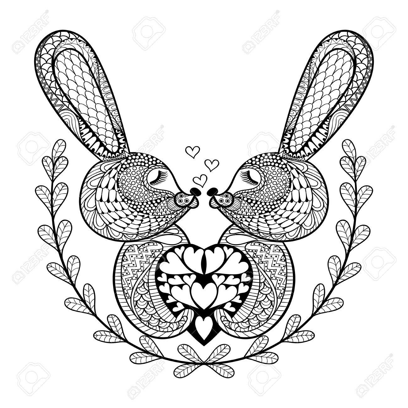 Hand Gezeichnet Schöne Kaninchen Für St. Valentinstag In Doodle ...