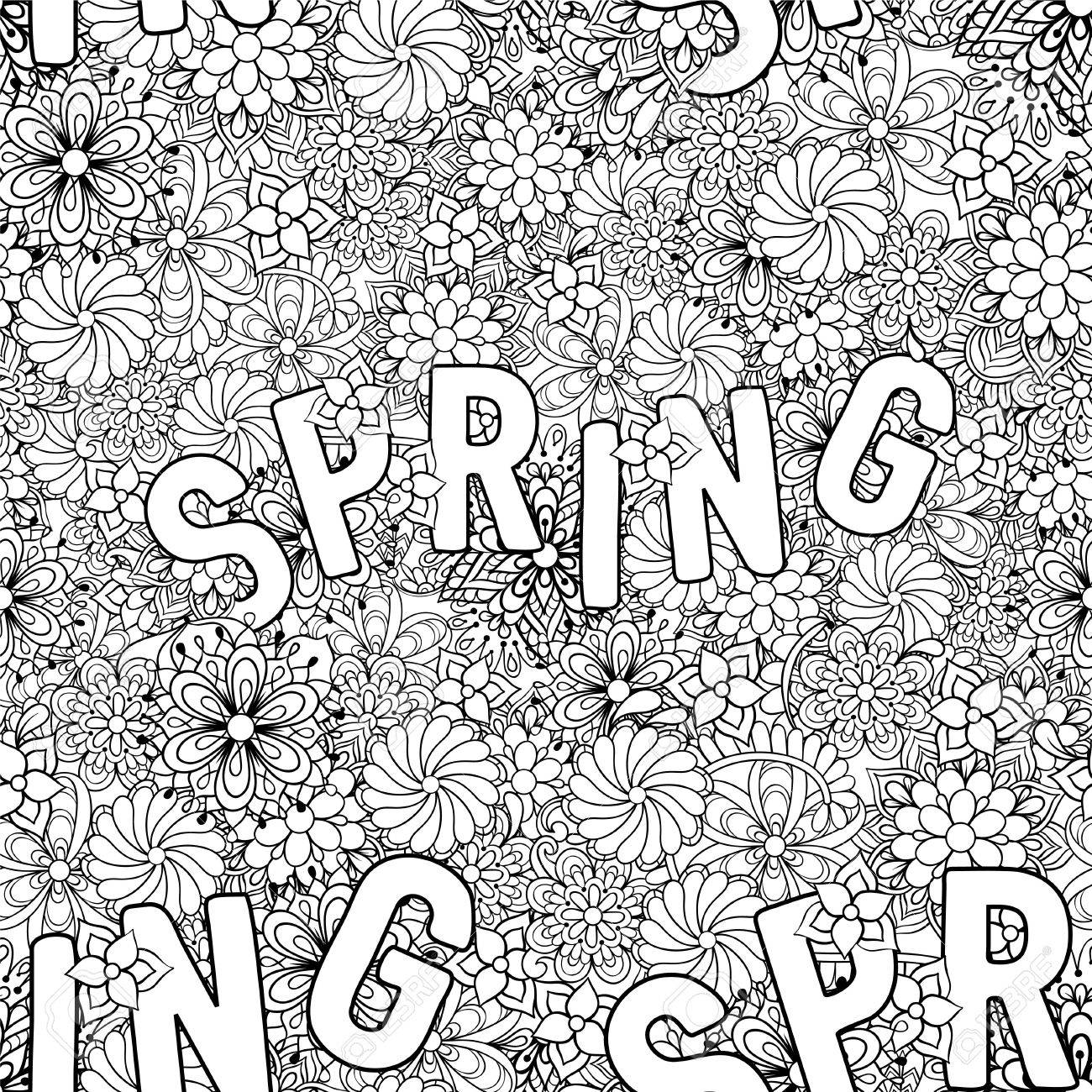 Hand Drawn Ethnic Ornamental Patterned Spring Seamless Pattern With Flowers In Doodle Zentangle Tribal Style