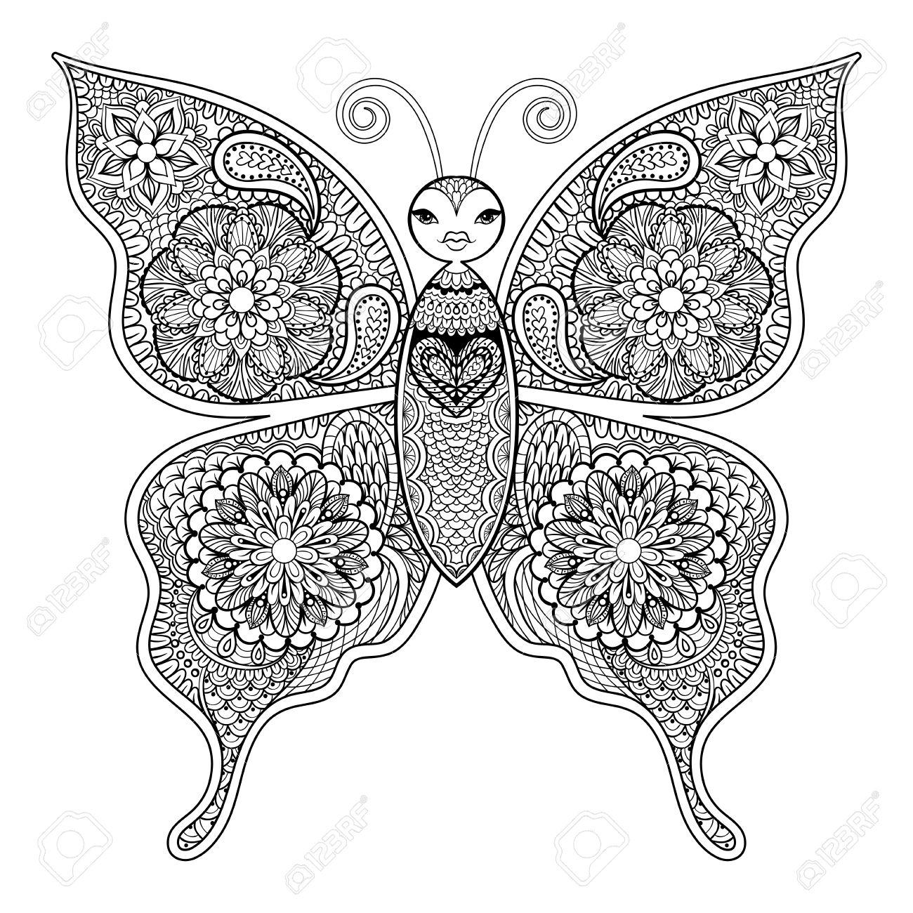 Mariposa Del Vector Zentangle Para Colorear Páginas De Estrés Contra ...