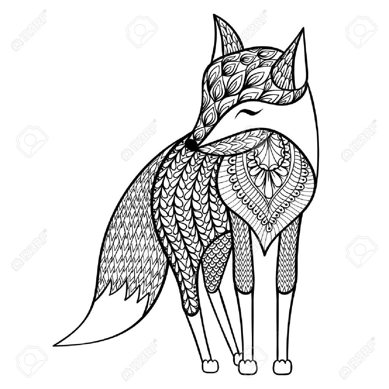 Vector De Zentangle Feliz Fox Para Colorear Páginas Para Adultos ...