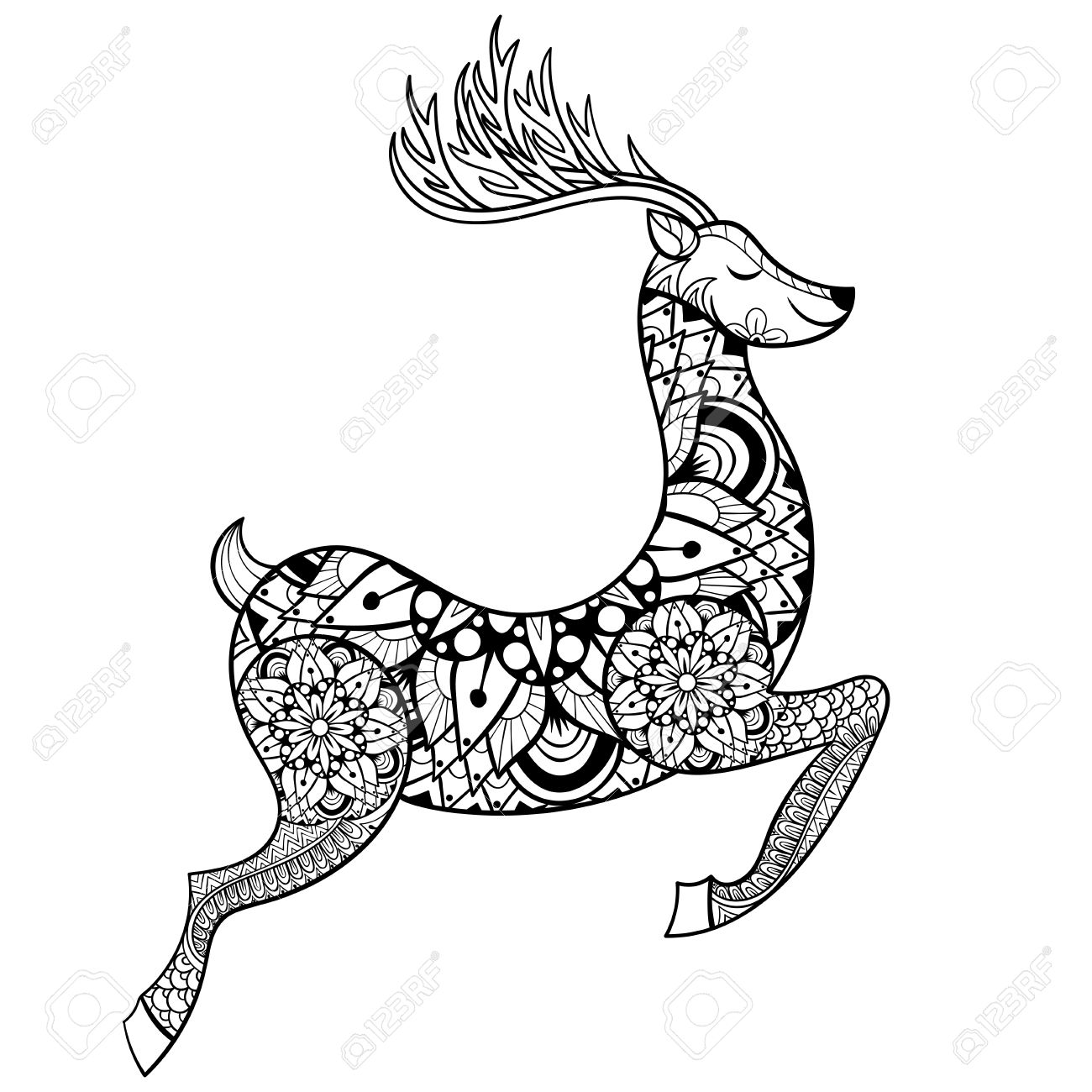51457108 zentangle vector reindeer for adult anti stress coloring pages ornamental tribal patterned christmasjpg