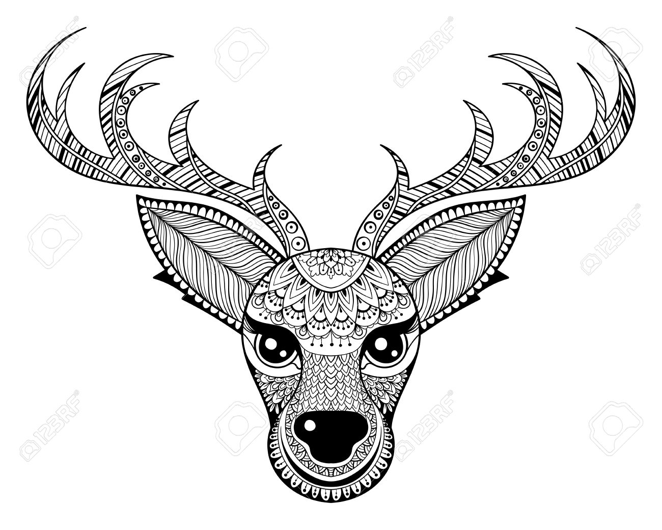zentangle vector reindeer for adult anti stress coloring pages ornamental tribal patterned christmas deer head