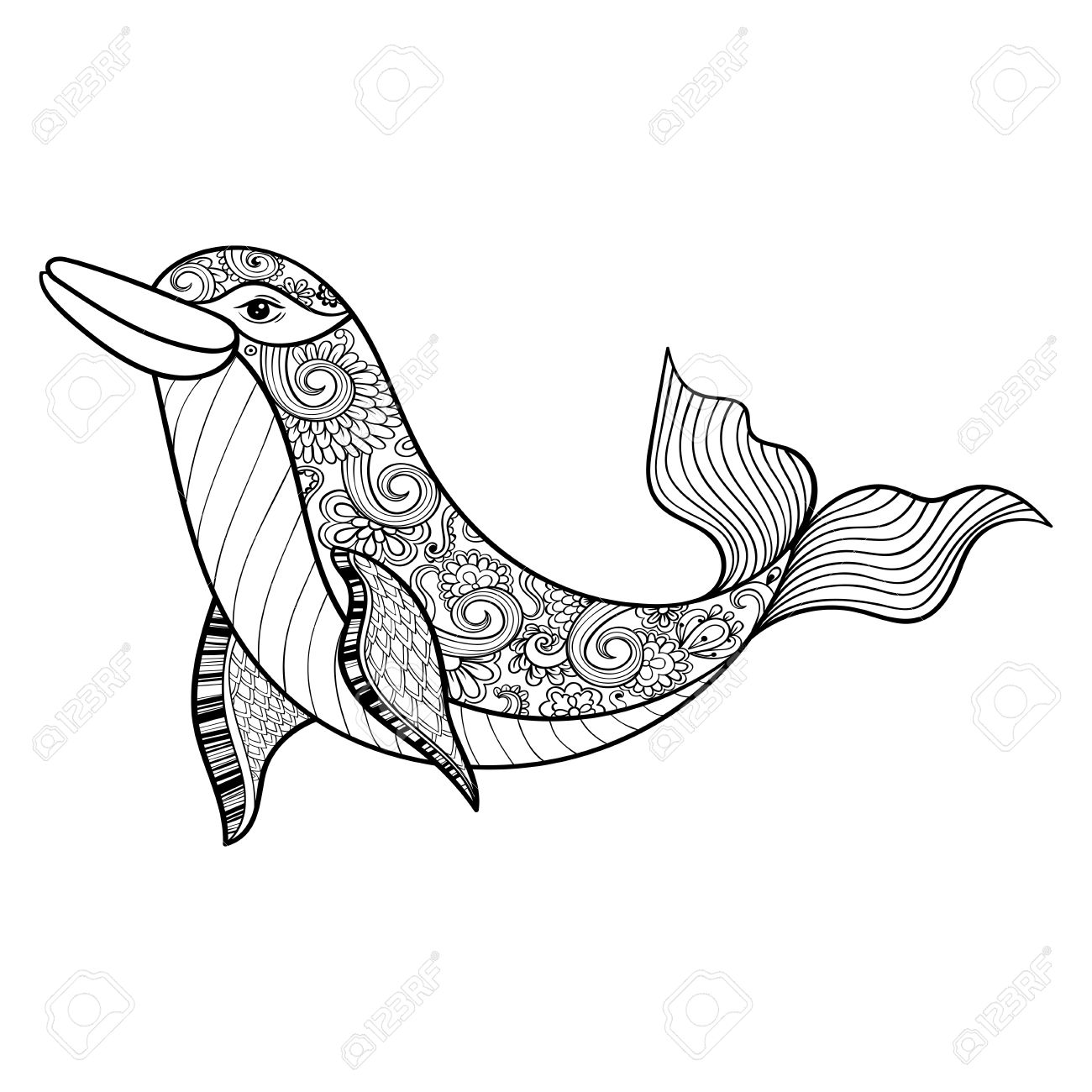 zentangle vector sea dolphin for anti stress coloring pages