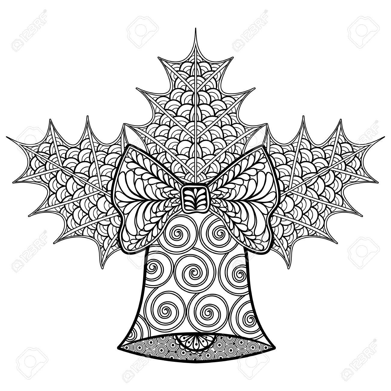 coloring pages with christmas decorative bell and mistletoe zentangle patterned illustration for adult anti stress