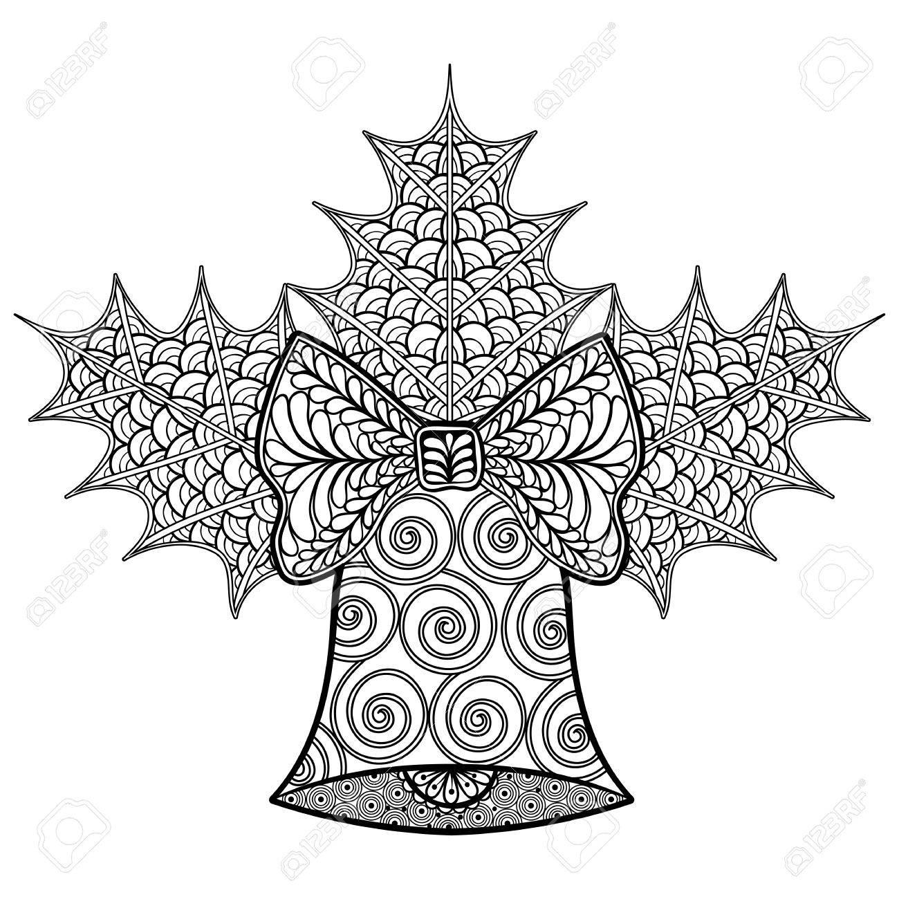 Dibujos Para Colorear De Navidad Con Campana Decorativa Y El Muérdago Zentangle Modelados Ilustración Para Adultos Libros Para Colorear Contra El