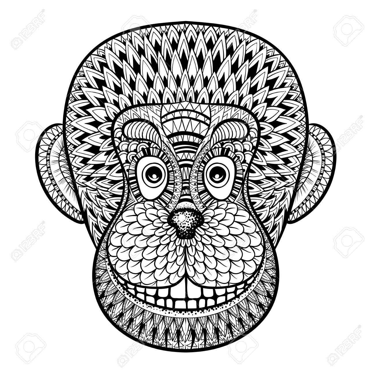 Coloriage Adulte Singe.Coloriage Avec Tete De Singe Gorille Illustration Zentangle Pour
