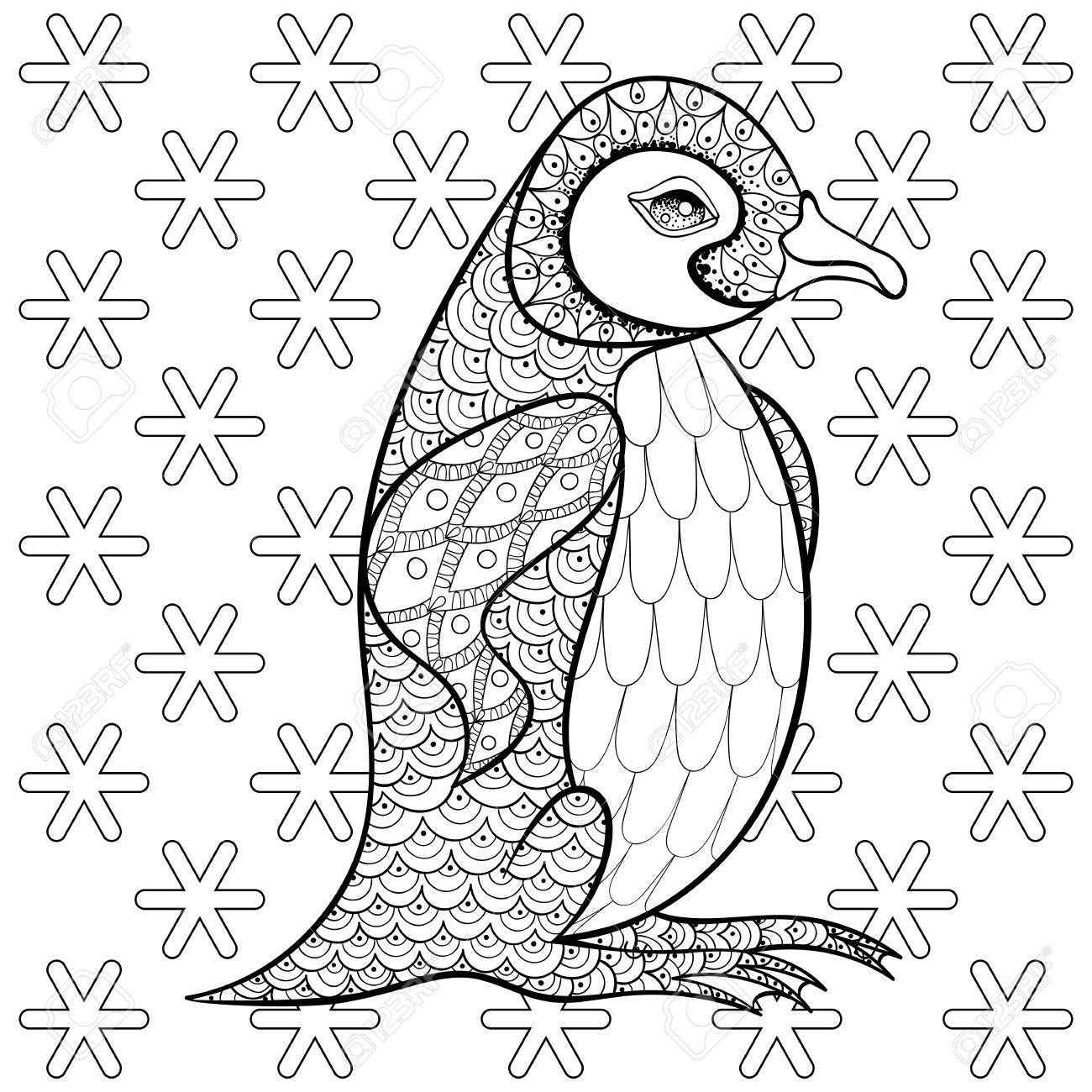 Coloring Pages With King Penguin Among Snowflakes Zentangle