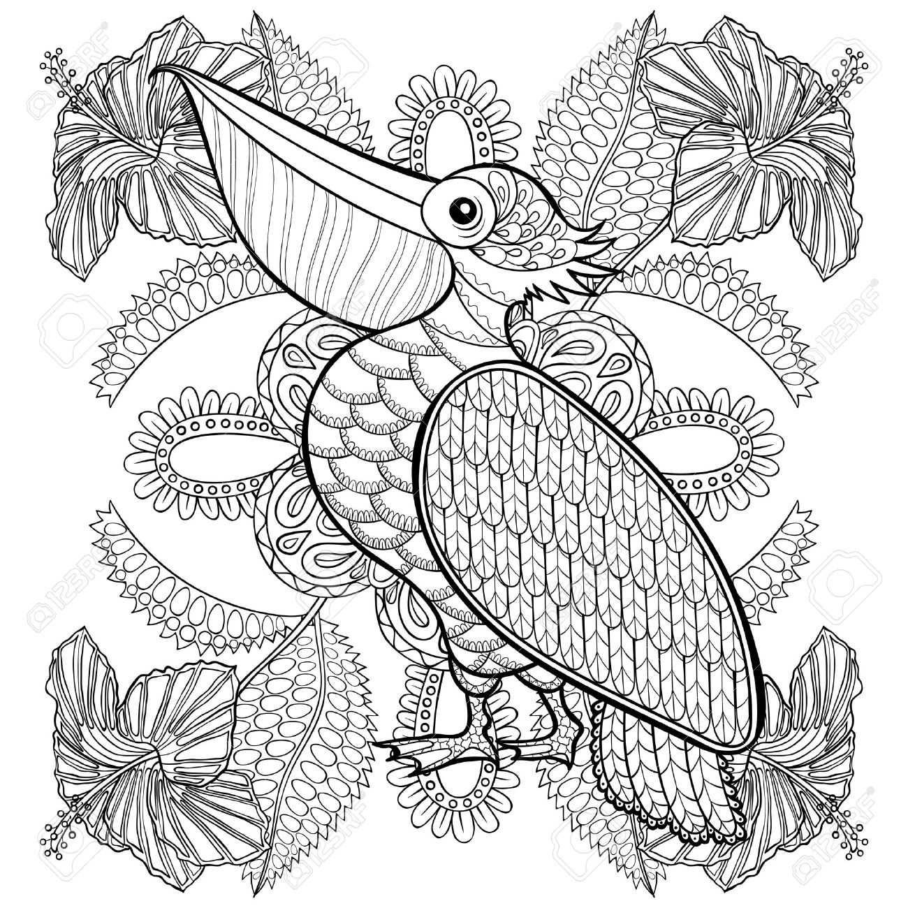 Coloring Page With Pelican In Hibiskus Flowers, Zentangle Illustartion For  Adult Coloring Books Or Tattoos