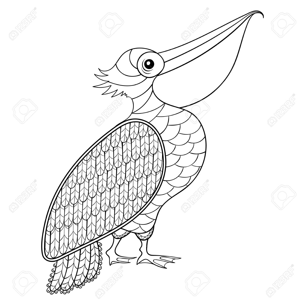 Coloring Page With Pelican, Zentangle Illustartion For Adult Coloring Books  Or Tattoos With High Details