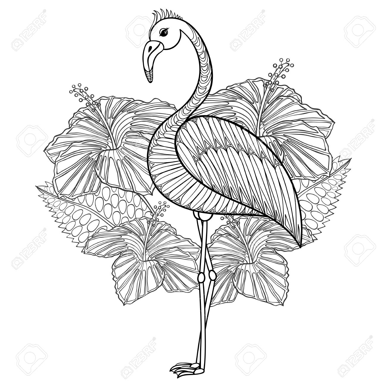 Coloring sheets for adults flamingo - Coloring Page With Flamingo In Hibiskus Zentangle Illustartion For Adult Coloring Books Or Tattoos With