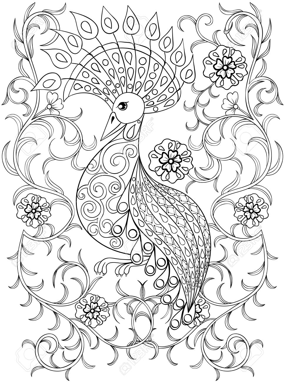 coloring page with bird in flowers zentangle illustartion bird