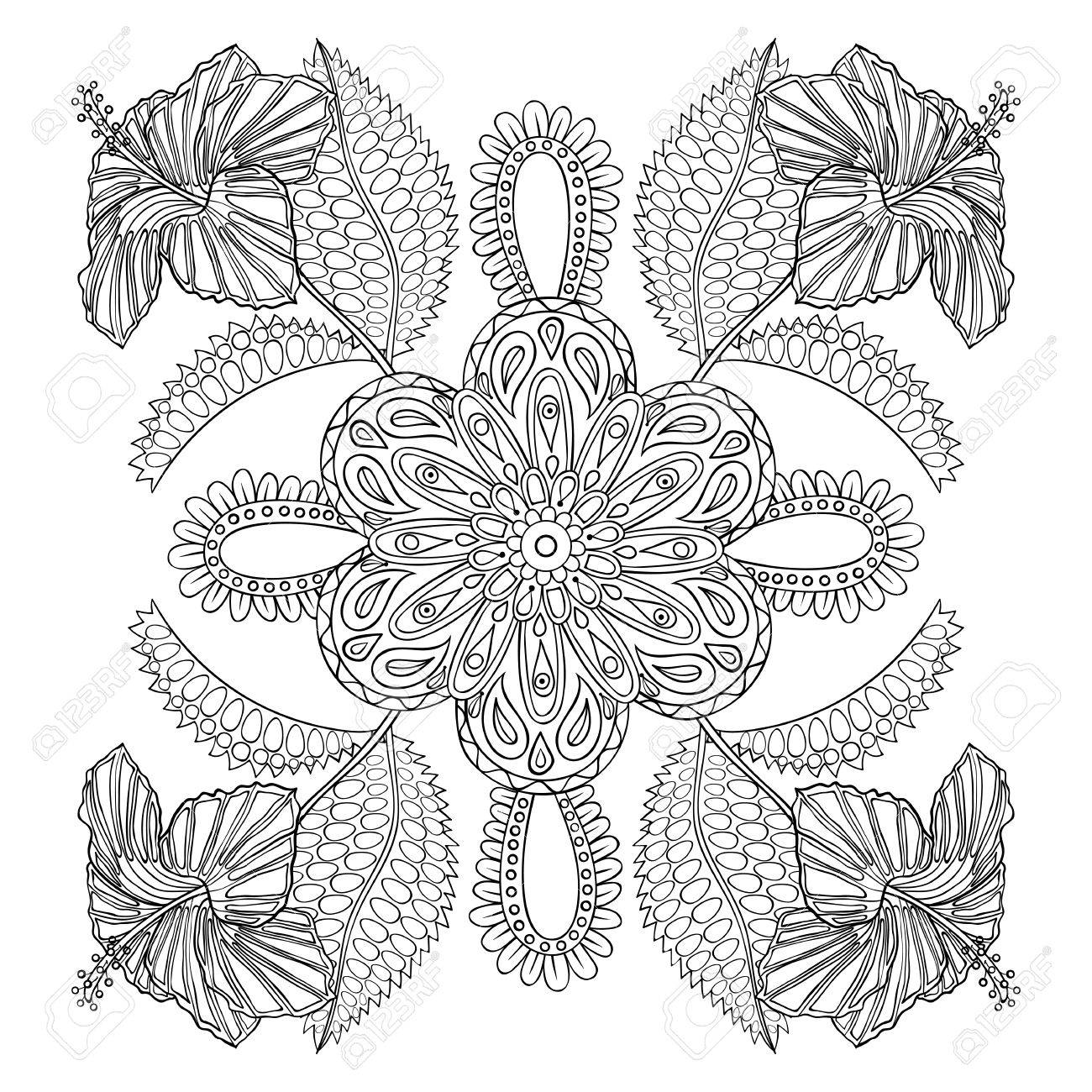 coloring page with exotic flowers brunch zentangle illustartion