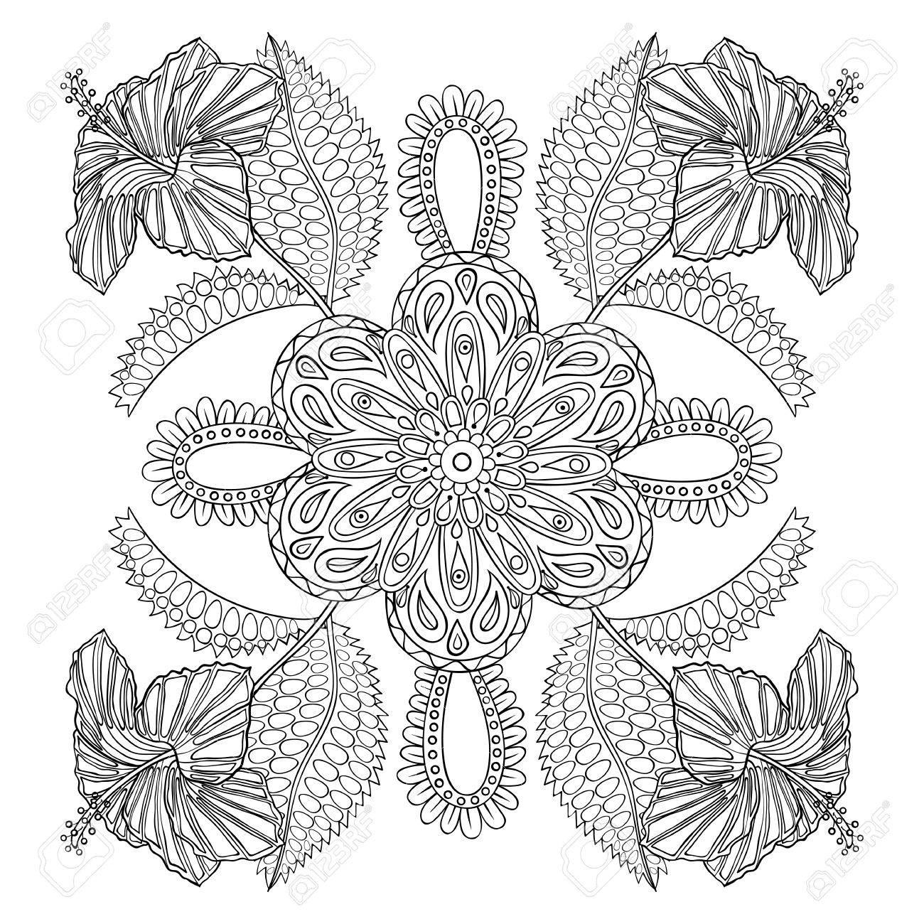 Página Para Colorear Con Flores Exóticas Almuerzo Illustartion