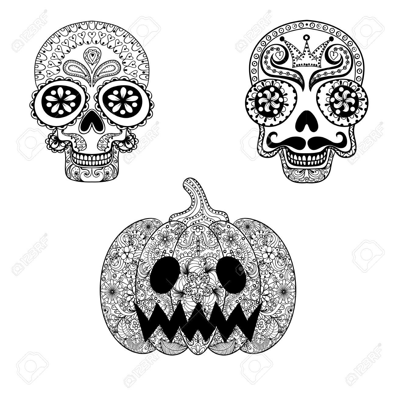 Dibujado A Mano Los Cráneos Y De Calabaza En Estilo Del Zentangle ...