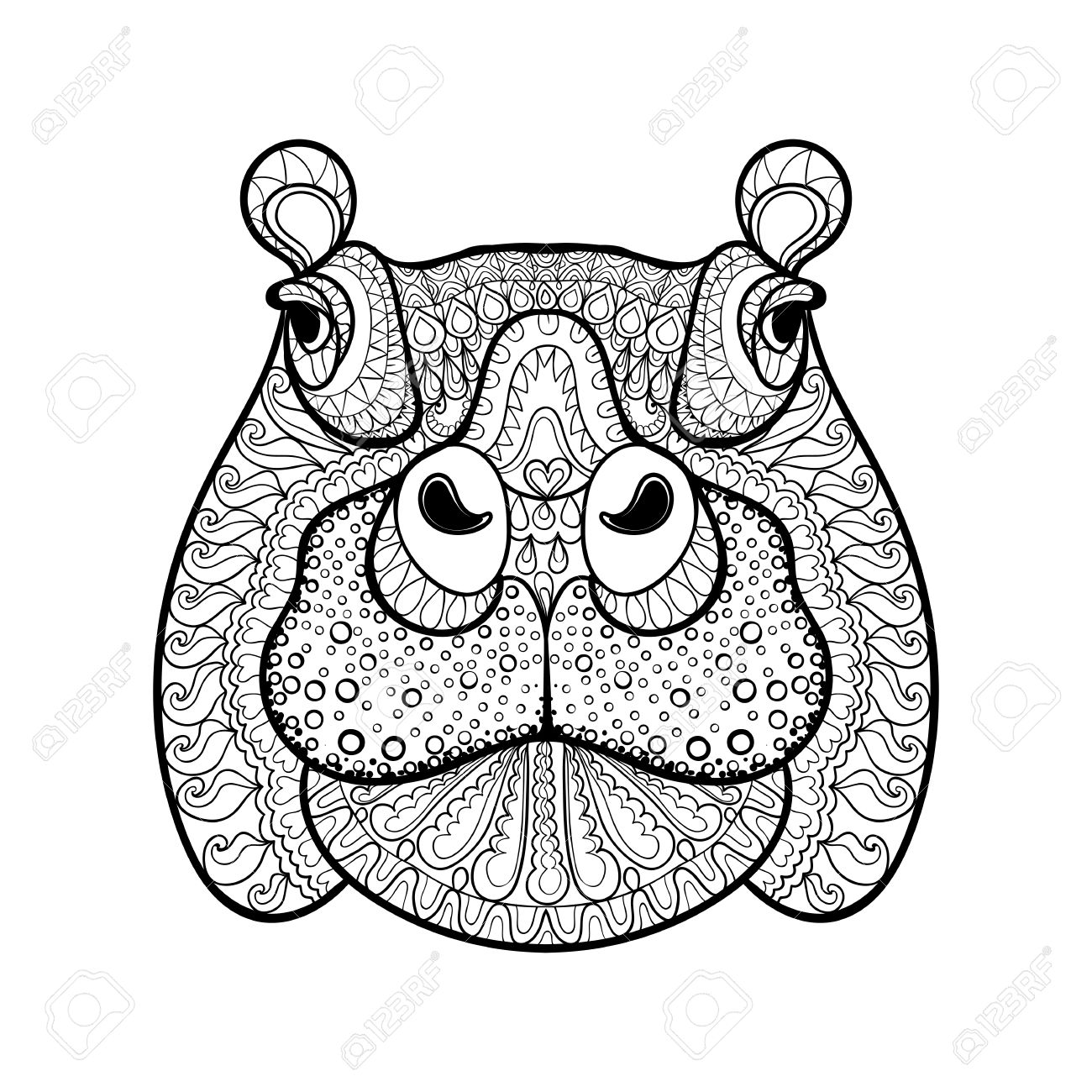 Hand Drawn Tribal Hippopotamus Head Animal Totem For Adult Coloring Page In Zentangle Style