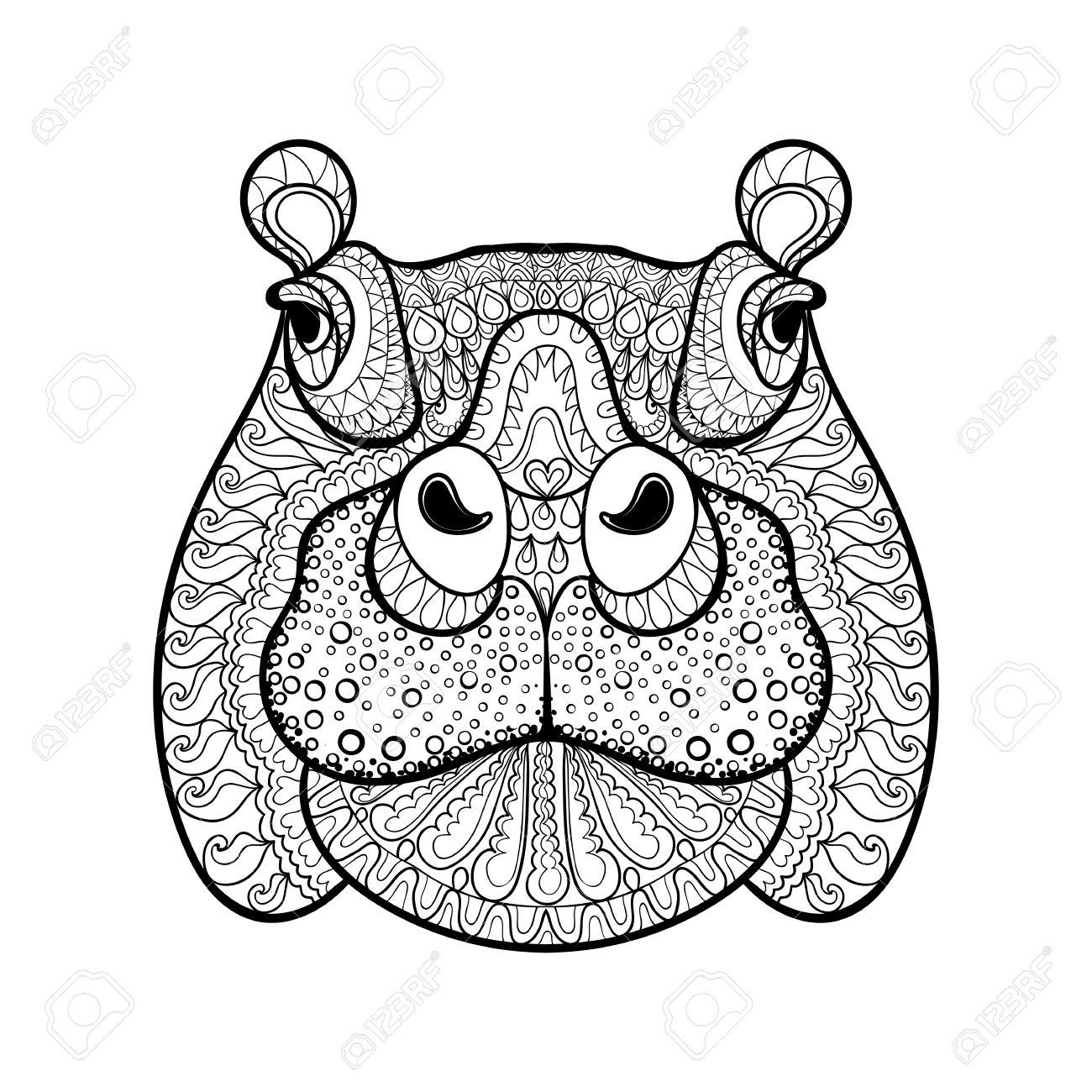 hand drawn tribal hippopotamus head animal totem for adult coloring rh 123rf com Crayon Vector Football Outline Vector