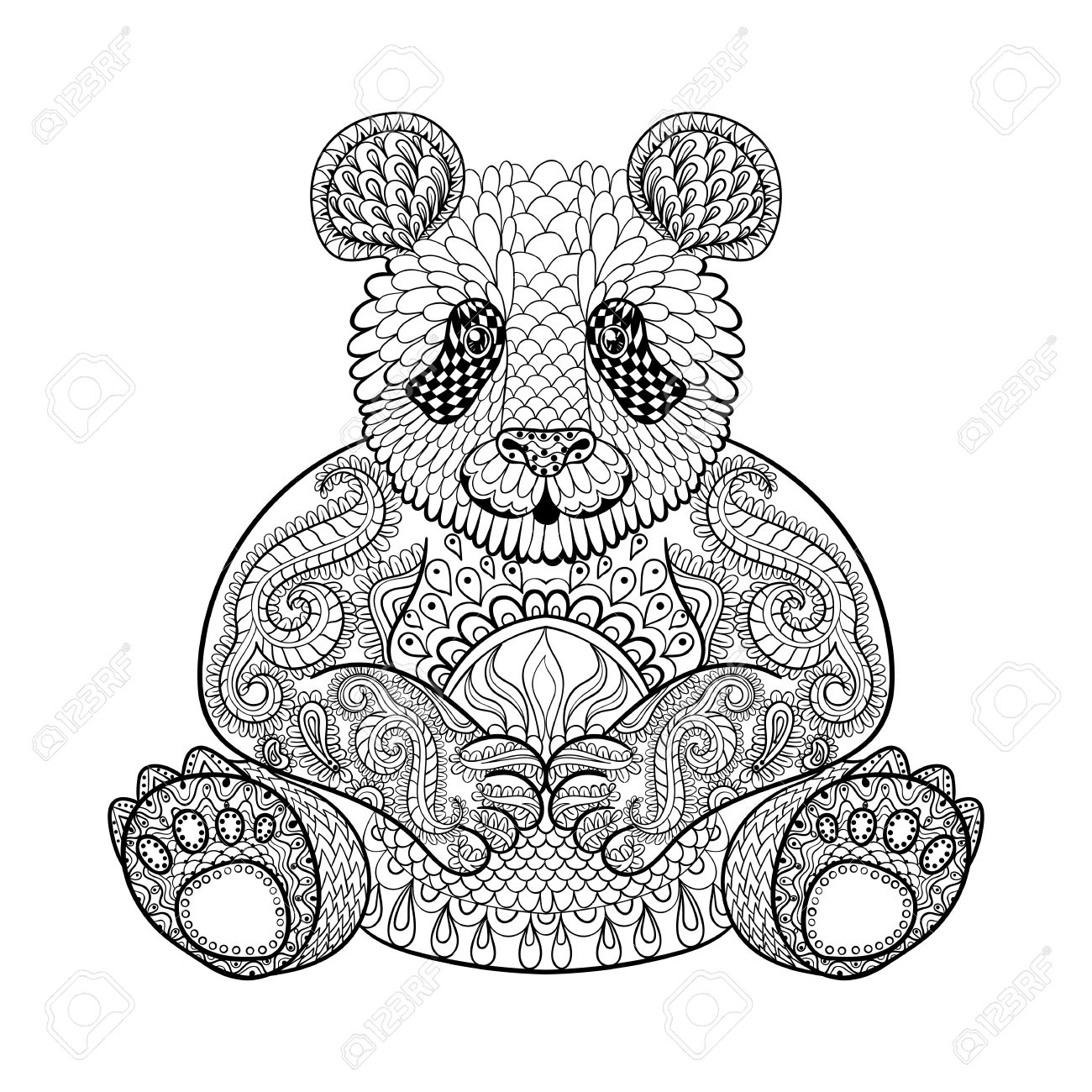 Dibujado A Mano Panda Tribal, Tótem Animal Adulto Para Colorear En ...
