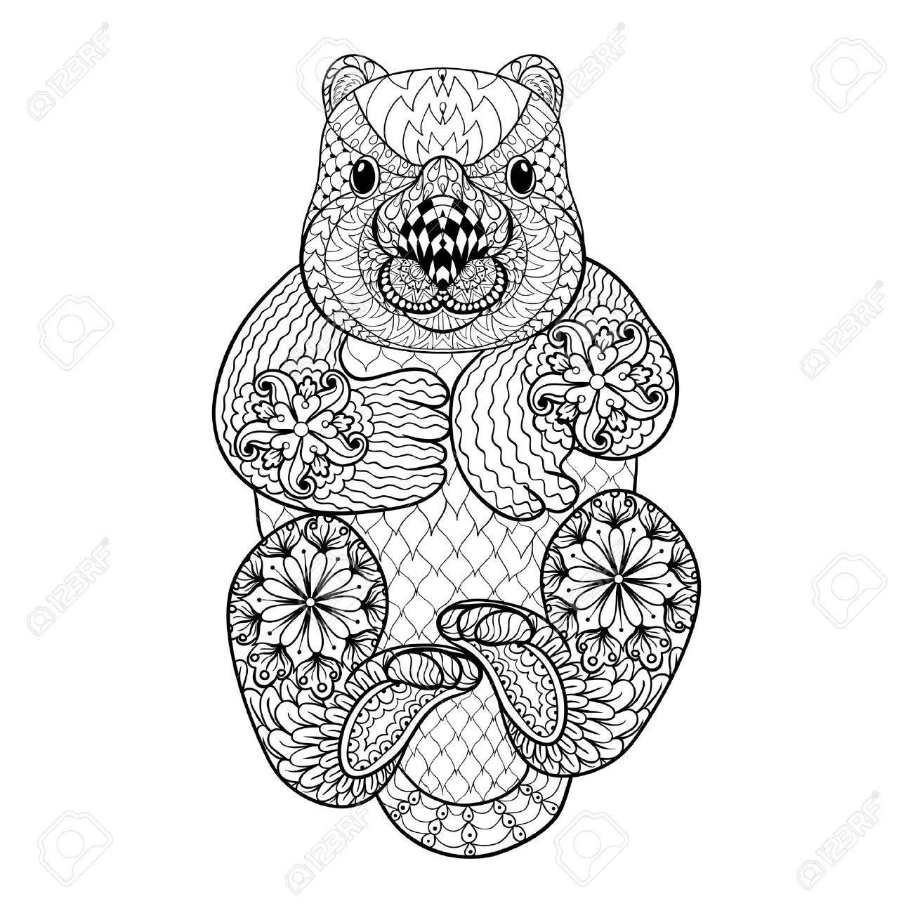 Dibujado A Mano Wombat Tribal Totem Animal Adulto Para Colorear En