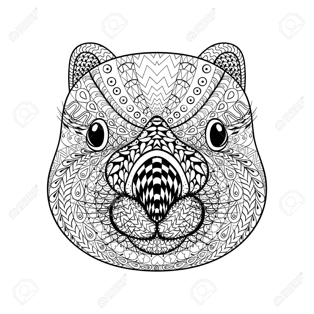 Hand Drawn Tribal Wombat Face Animal Totem For Adult Coloring Page With High Details Isolated