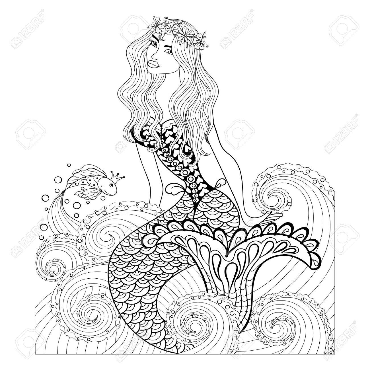 Fantastische Meerjungfrau In Meereswellen Mit Einem Goldfisch Und