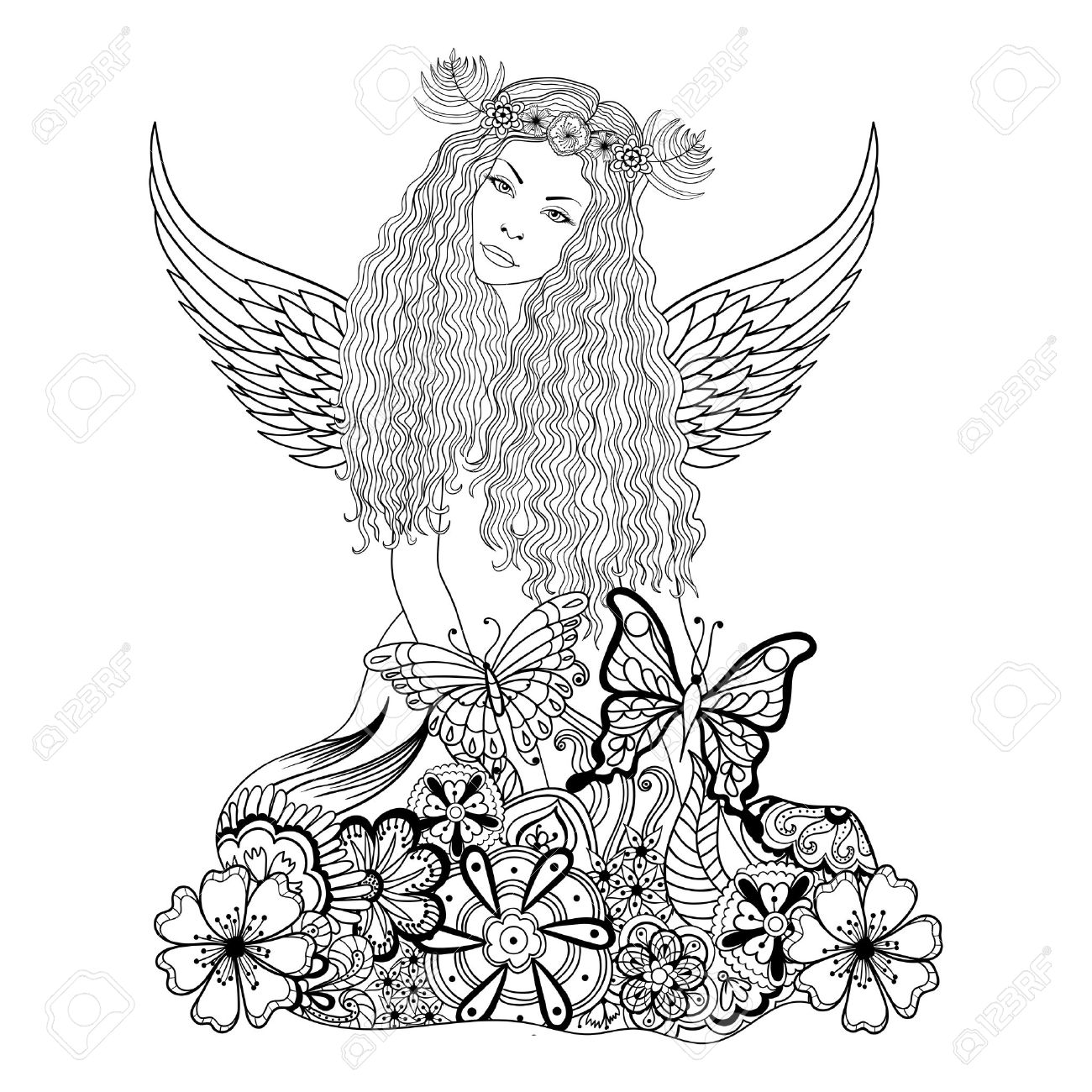 Forest Fairy With Wings And Wreath On The Head, Young Beautiful ...