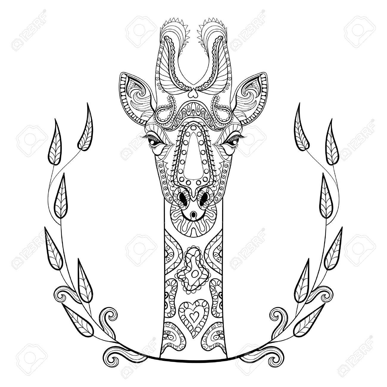 Coloring pages for adults giraffe - Zentangle Giraffe Head Totem In Frame For Adult Anti Stress Coloring Page For Art Therapy