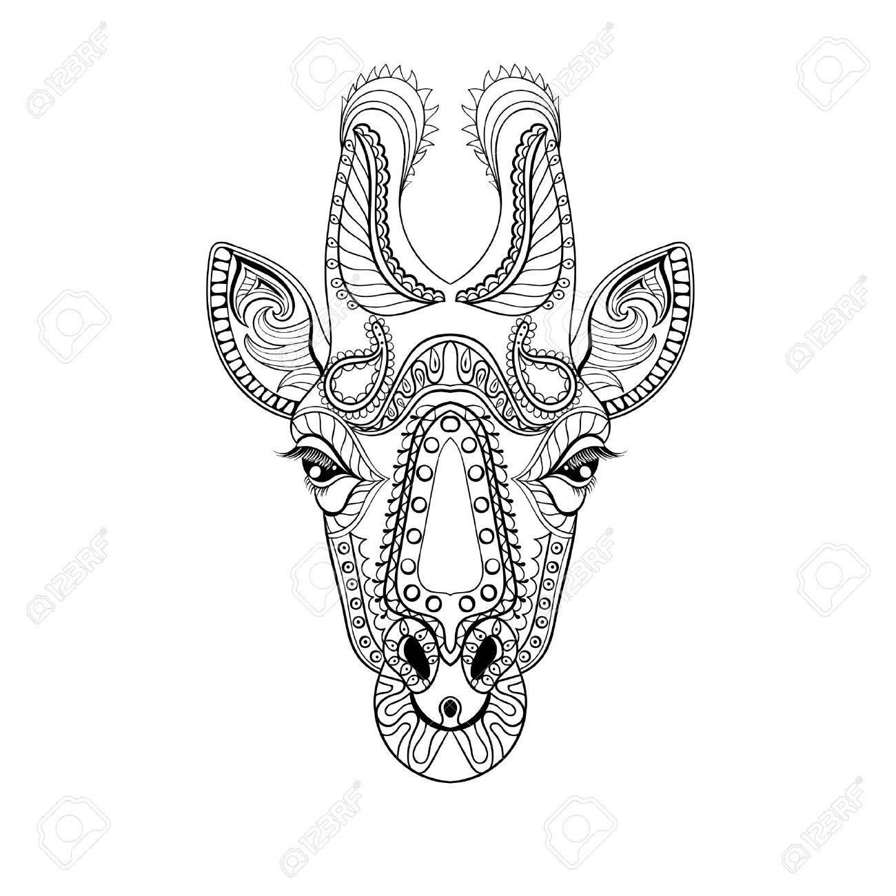 - Zentangle Giraffe Head Totem For Adult Anti Stress Coloring Page