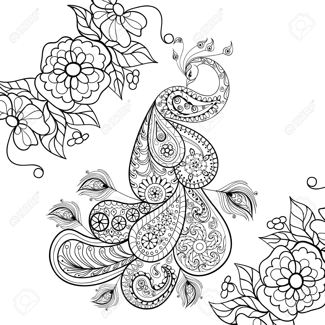 Zentangle Peacock Totem In Flowersfor Adult Anti Stress Coloring Page For Art Therapy Illustration