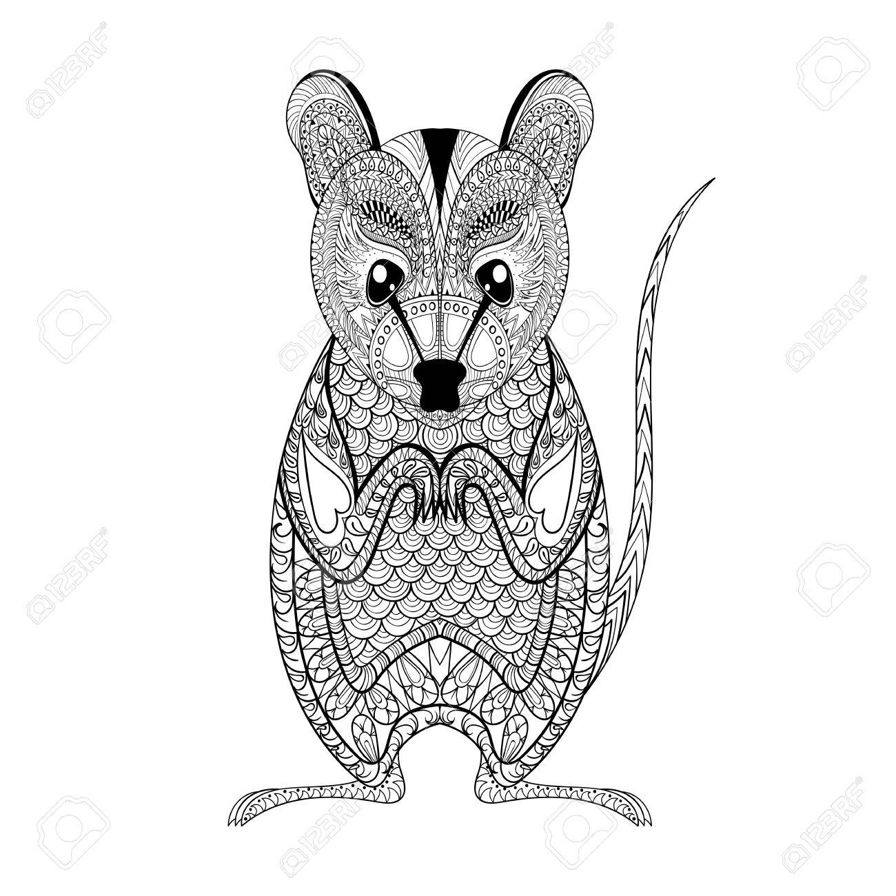 Zentangle Possum totem for adult anti stress Coloring Page for art therapy, illustration in doodle style. Vector monochrome sketch with high details isolated on white background - 51458774
