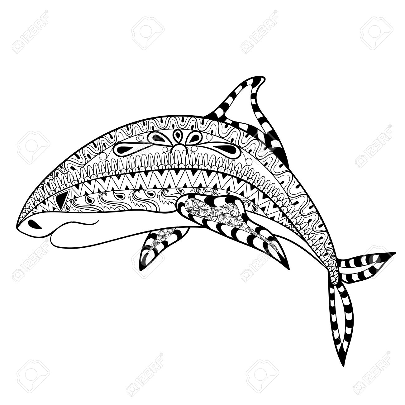 zentangle shark totem for anti stress coloring page for